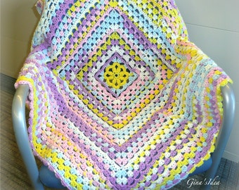 """Crochet BABY BLANKET AFGHAN Lap Granny Squares Soft Warm  34"""" x 34""""  Girl Pink Yellow Lilac White"""