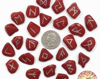 XSmall Red Jasper Rune Set Hand Carved Elder Futhark With Manual & Pouch