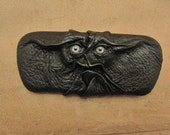 Grichels leather eyeglass/sunglasses case - black with stormy blue human eyes