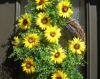 Sunflower Wreath, Summer Wreath, Summer Wreath For Door, Sunflower Door Wreath, Etsy Wreath, Sunflower Decors