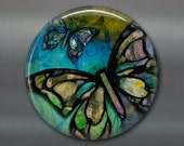 "3.5"" butterfly decor, colourful butterly magnet, housewarming gift, hostess gift, bright color kitchen decor, large fridge magnet,  MA-317"