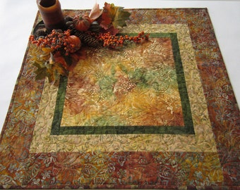Quilted Table Topper, Handmade Table Topper, Batik Table Topper, Fall Colors, Table Decor, Home Decor, Fall Decor, Rustic