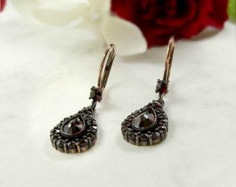 Classical Bohemian garnet drop earrings || ГРАНАТ 540