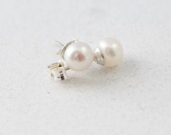 Classic Pearl Stud Earrings, White, Pearl Earrings, Small Medium Button Style Pearl Studs