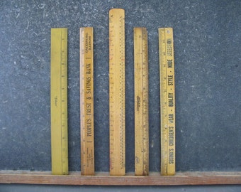 Vintage Wood Rulers, advertising, instant collection, Mix, group, lot