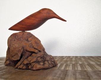 Vintage Harold Schlack Carved Monkey Pod Wood Bird Sculpture