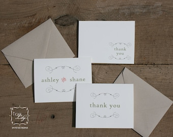 Rustic Note Cards - Thank You Notes - Monogrammed Notes - Rustic Twine Notes