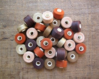 32 Bobbins of Brown, Tan, Rust Thread