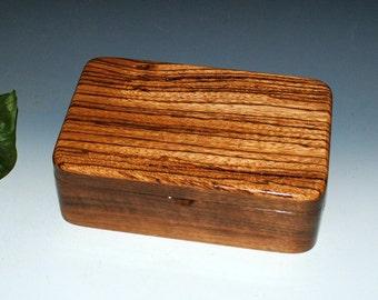 Zebrawood on Walnut -  Handmade Wooden Stash Box - a Guy Favorite - USA Made by BurlWoodBox -Small Wood Box, Jewelry Box, Wooden Jewelry box