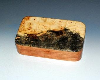 "Handmade Wood ""Oyster"" Box - Buckeye Burl on Cherry-Small Wood Jewelry Box, Wooden Stash Box ,Small Wooden Jewelry Box by BurlWoodBox, Boxes"