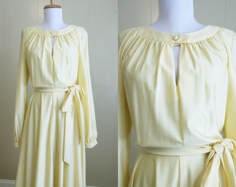 Yellow Dress Vintage 70s Disco Secretary Keyhole Belt Medium