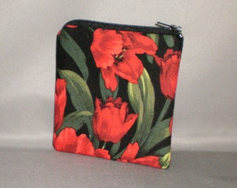 Coin Purse - Gift Card Holder - Card Case -Small Padded Zippered Pouch - Mini Wallet - Red Tulips