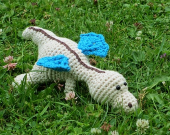 Baby dragon crochet baby rattle stuffed toy - organic cotton - ivory, blue and brown amigurumi dragon baby gift