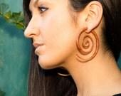 Fake Gauges, Handmade, Wood Earrings, Cheaters, Organic, Plugs, Split, Tribal Style - XL Double Spirals Tan Wood