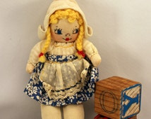 Small Vintage Rag Doll Cloth Dutch Girl 6 inches Handmade Cute
