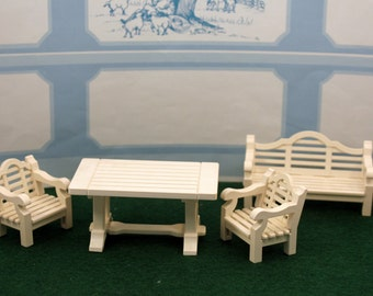 Playmobile Toy Victorian Mansion Patio Set 1989 Retired 5323 Miniature Garden Dollhouse Furniture