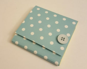 Turquoise and White Polka Dot Sticky Notes Pad with Pastel Button