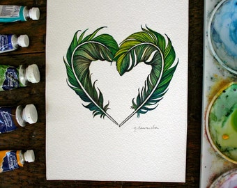 Green Feather Heart - Original Watercolour Painting