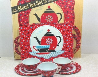 "METAL TEA SET, Ohio Art, 1945-1958, Complete ""Miss Petite"" Set in Original Box, Excellent Condition, Vintage Tin Litho Collectible Toy"