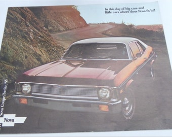1971 CHEVROLET NOVA, Dealership New Car Showroom Advertising, Vintage Automotive, Car Brochure, Ephemera