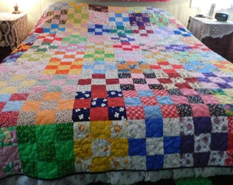 Handmade Double, 9 Patch Quilt, handcrafted, custom made, unique, colorful, bedroom quilt, grandma's quilt, hand stitched, machine quilted