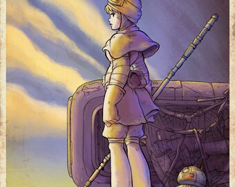 THE SCAVENGER Star Wars Inspired Nausicaa Mashup Movie Poster - Valley of the Wind