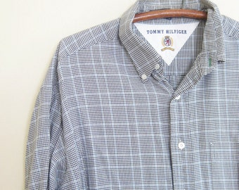 Vintage Tommy Hilfiger Mens Shirt 1970s Black White Check Plaid 16 Half 32 33 Medium Large Indie Hipster Chic Classic 70s Seventies