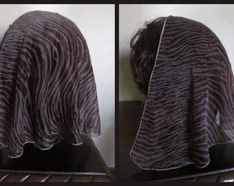 SALE Chocolate Brown mantilla scarf veil - New - chiffon sheer -