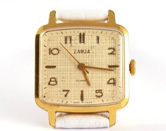 25% OFF ON SALE Rare Vintage mens watch Zarja, gold covered watch