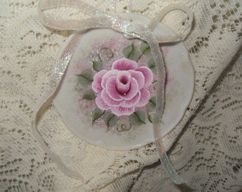 Victorian Chic Hand Painted Pink Rose Sparkle Scalloped Mini China  Plate  Wall Hanging or Ornament