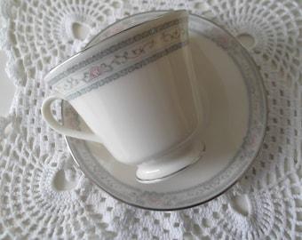 Vintage Teacup and Saucer Lenox China Charleston Pattern, Wedding, Bridal Shower, Tea Party China