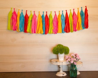 ASSEMBLED Big Top Circus Tassel Garland Tissue Paper Tassels Garland Kit Choose your  quantity Sets of 6 to 50