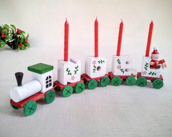 Vintage 1984 Noel Candle Train Christmas Decoration, Miniature Hand Painted Wood Train with Santa Claus and Candles on Top, Made by Giftco