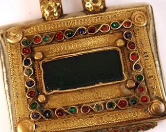 Tribal Prayer Box Necklace, Silver, Brass,Obsidian, Crystals,Boho, Hippy, Belly Dance, Quran, Islam, Turkman, Turkmenistan, FREE US Shipping