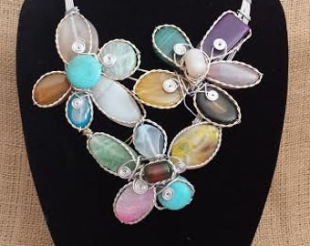 ELEGANT Statement Bib / Dress Necklace Multi Colored  Natural Gemstones OOAK Necklace