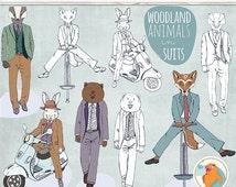 SALE - Woodland Animals in Suits ClipArt, Gentleman Bear Clip Art, Dapper Hare, Badger, Fox Hand Drawn Line Art + PNG Hipster Graphics