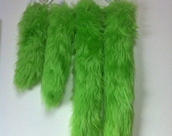 """LIME GREEN Faux Fur Tail - One GREEN Faux Fur Tail sizes 10"""" , 12"""" , 21"""" or 30""""  - Clip on Fur Tail -Lime Green Costume Tail"""