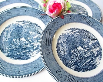 Vintage Currier and Ives Royal Blue and White Old Grist Mill Dinner Plates Set of Four