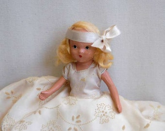 Nancy Ann Storybook Doll, A February Fairy Girl for Ice and Snow #188, Bisque Doll, Blond Hair, Vintage 1940s With Box