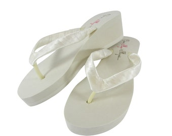 Wedge flip flops- Classic Ivory Wedge or White Wedge Bride/ Bridesmaid Satin Flip Flops- heel height: 3.5 -1.25 - 2 Plain Platform Sandals