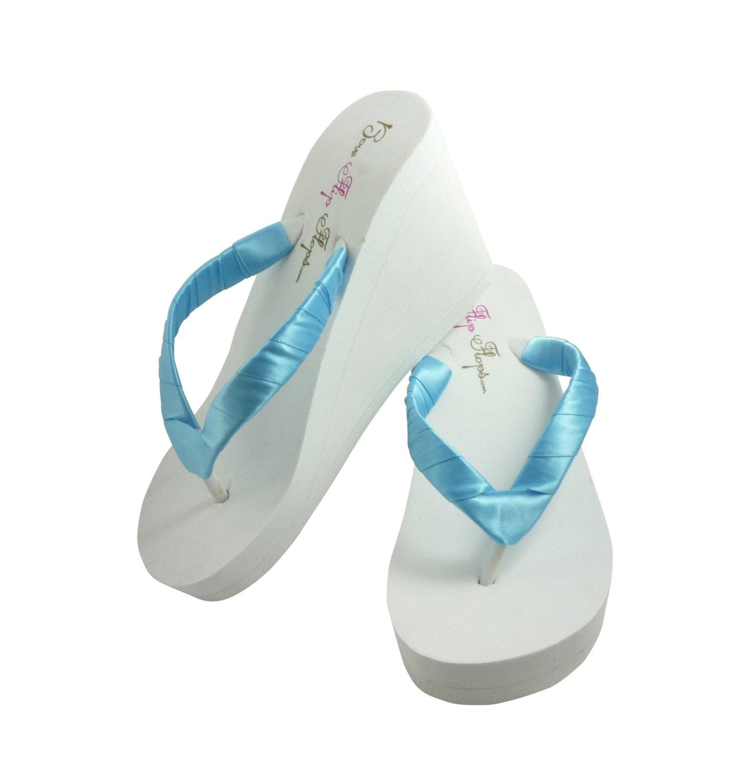 Wedge Flip Flops Ivory White Copen Blue Many Colors-7944