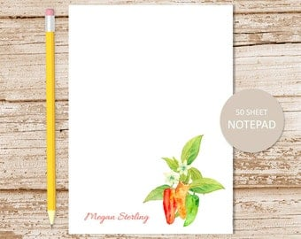 personalized notepad . chili peppers note pad . watercolor peppers . pepper notepad . gardener stationery . stationary gift