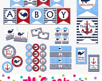Whale Baby Shower Decorations - Whale Party Package Navy Blue Red - Nautical Banner Cupcake Toppers - Digital Package - INSTANT DOWNLOAD