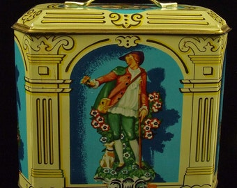 Vintage Candy Biscuit Container Tin With Lid Beautiful Colors French Cottage Chic Royal Crown Murray Allen Exclusive Confections Blue Gold