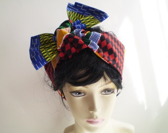 Small Colorful African Head Scarf, Red Green Black African Head Wrap, African Headwraps, Ethnic Head Wraps