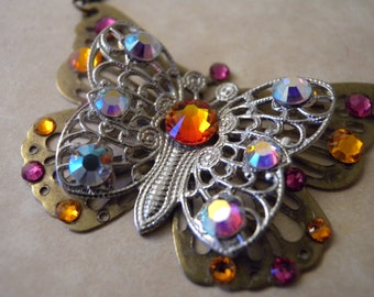Mixed Metal Butterfly Necklace in Antique Brass and Silver with Swarovski Crystal Rhinestones
