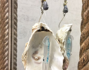 Pacific Oyster Shell and Fishing Lure Fan/Light Pull