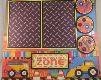 CONSTRUCTION ZONE 12x12 Premade Scrapbook Page Building Trucks