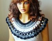 Crochet Black White And Gray Capelet Bridal Bolero Shrug Wrap Shawl Fall Fashion, Lace Fashion, Winter Accessories