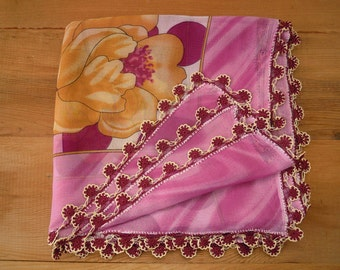 scarf with crochet trim, violet pink